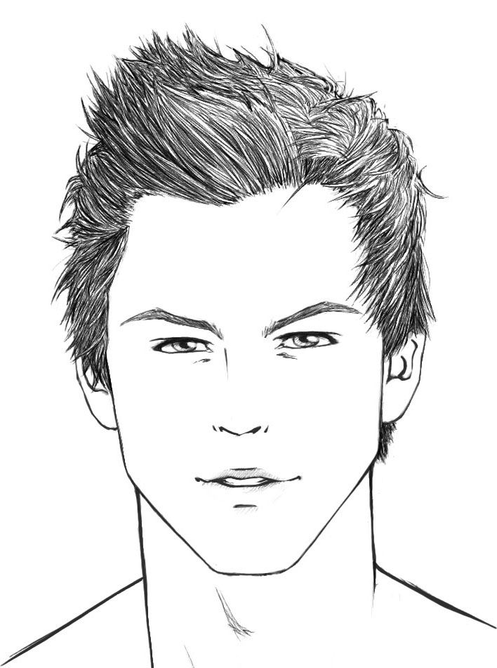 Man S Face Line Drawing : How to draw hair male sharenoesis