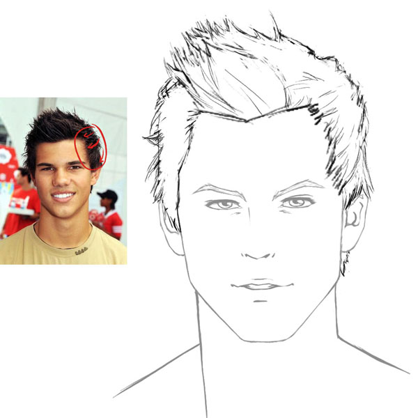 Line Drawing Hair : How to draw hair male sharenoesis