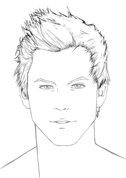 Line Drawing Boy Face : How to draw hair male sharenoesis