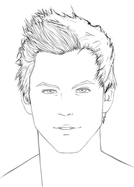 Male hair drawing