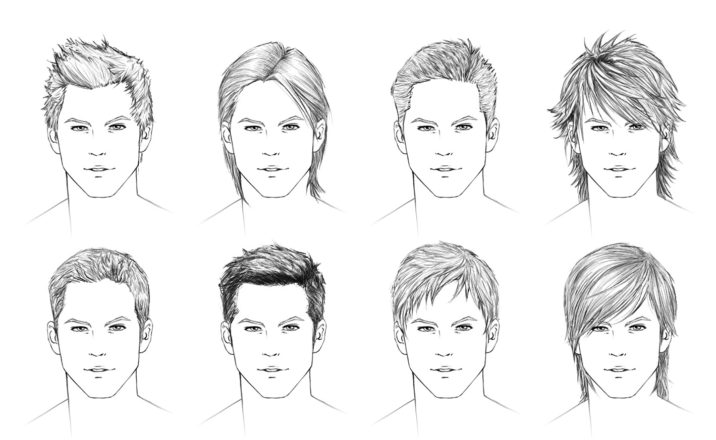 Hairstyles For Long Hair Drawing : How to draw hair: male ShareNoesis