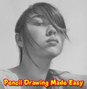 pencildrawing of face with hair